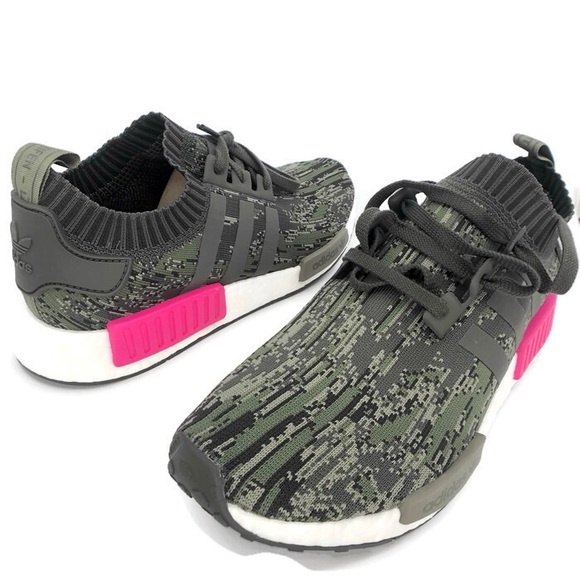 hot sales 1c44b cd5a8 Adidas NMD R1 PK Utility Grey Camo Shock Pink S12 NWT